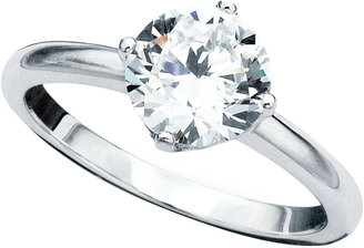Crislu Ring, Platinum Over Sterling Silver Solitaire Ring (1-1/2 ct. t.w.)