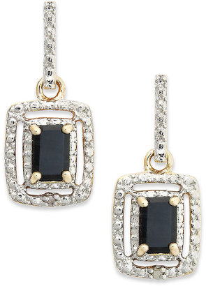 Townsend Victoria 18k Gold over Sterling Silver and Sterling Silver Earrings, Sapphire (1-3/8 ct. t.w.) and Diamond Accent Rectangle Earrings