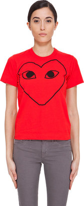 Comme des Garcons Red Heart Outline T-Shirt