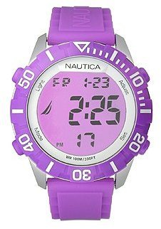 "Nautica Unisex N09931G ""NSR 100"" Fashion Digital Watch with Purple Silicone Band $48 thestylecure.com"