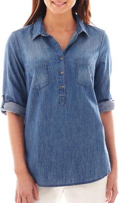 Liz Claiborne Elbow-Sleeve Denim Popover Shirt - Tall