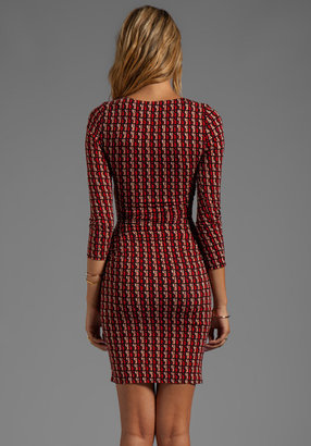 Plenty by Tracy Reese Loop and Chain Jersey Print Criss Cross Dress in ruby Rust