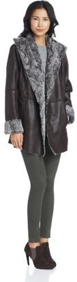 True Grit Dylan by Women's Stonewashed Suede and Fur Cape Coat