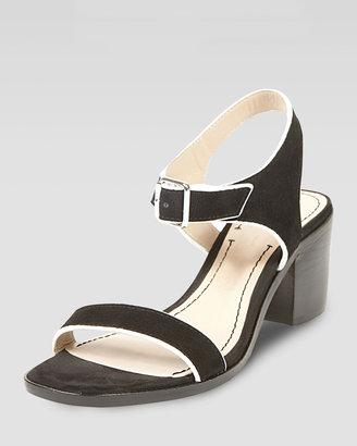 Elizabeth and James Ryann Tipped Leather Mid Sandal, Black