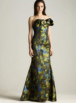 Jovani Strapless Ruffled Print Gown
