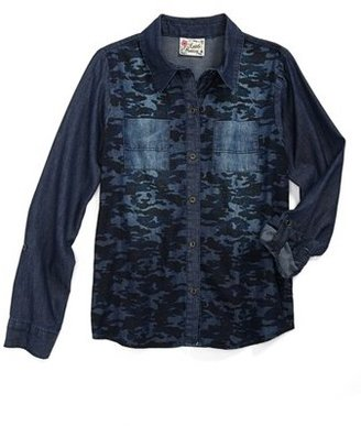 Camo Little Pretties Chambray Shirt (Big Girls)