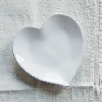 The White Company Porto Stoneware Heart Side Plate, White, One Size