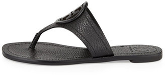 Tory Burch Louisa Logo Flat Thong Sandal, Black
