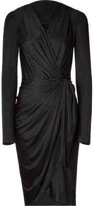 Ungaro Black Ruffled Wrap Dress