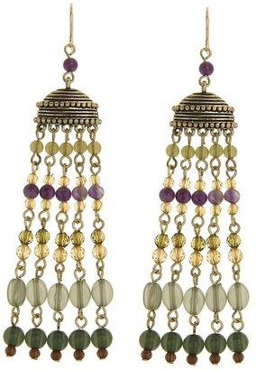 Lauren Ralph Lauren Multi Bead Tassel Earrings (Bronze/Multi) - Jewelry
