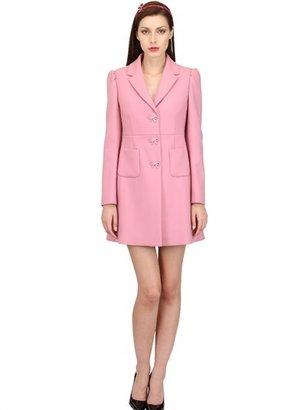 RED Valentino Ribbon Button Wool & Cotton Twill Coat