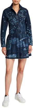RED Valentino Printed Denim Dress with Pleated Skirt