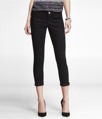 Express Stella Brushed Sateen Cropped Rolled Pant - Black