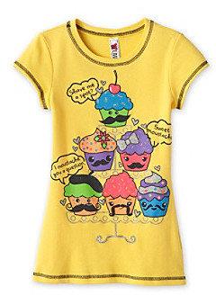 Beautees Girls' 7-16 Yellow Mustache Cupcakes Screen Tee
