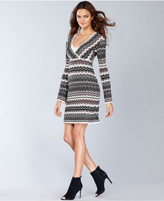 INC International Concepts Dress, Long-Sleeve Zigzag-Knit Sweater Dress