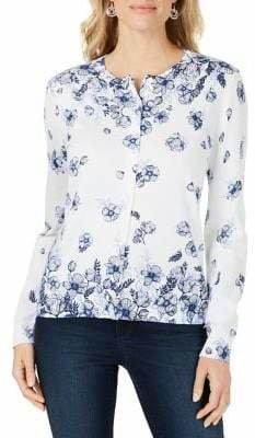 Karen Scott Floral Cotton Blend Cardigan
