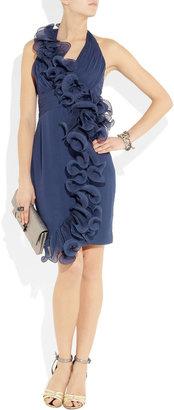 Notte by Marchesa Ruffled silk-chiffon and organza halterneck dress