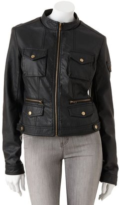 Say What faux-leather moto jacket - juniors