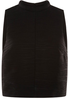 Proenza Schouler Black Pleated Crepe Sleeveless Cropped Top