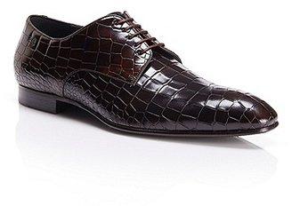 HUGO BOSS Pessot Crocodile Embossed Italian Leather Oxford - Dark Brown