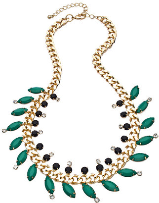 Blu Bijoux Gold Curb Links with Crystal Black and Green Beads Bib Necklace