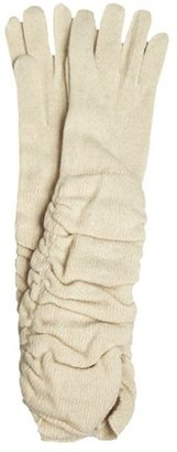 Portolano ivory cashmere ruched long gloves