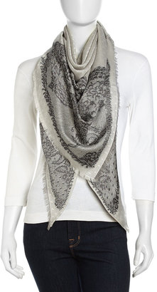 John Galliano Lace-Print Voile Scarf, Black