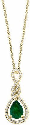Effy 14K Yellow Gold and Emerald Pendant Necklace with 0.21 TCW Diamonds