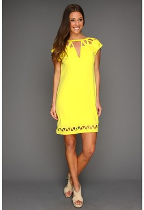 Catherine Malandrino Cap Sleeve Dress with Triangle Cut Out (Pernot) - Apparel