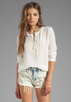 LAmade Long Sleeve Top with Leather Elbow Patches