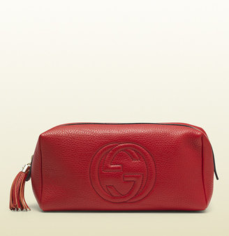 Gucci Soho Large Red Leather Cosmetic Bag