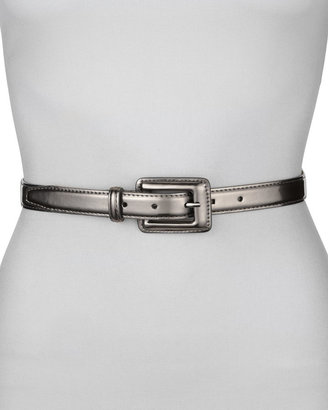Neiman Marcus Covered Buckle Mirror Belt, Pewter
