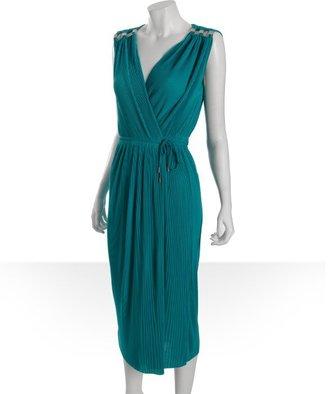 Diane von Furstenberg teal accordion pleated wrap dress