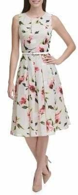 Tommy Hilfiger Corsage Floral Belted Midi Fit Flare Dress