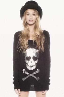 Wildfox Couture Love Skull Crewneck Sweater in Silver Sequins