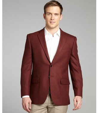 Joseph Abboud burgundy herringbone wool woven sportcoat