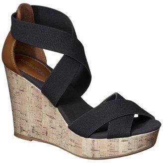 Merona Women's Emilia Nautical Tall Wedge Sandal - Black
