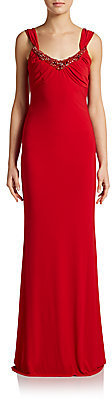 Mark & James by Badgley Mischka Sequin-Neck Draped Column Gown