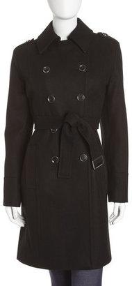 MICHAEL Michael Kors Felt Wool-blend Trenchcoat, Black