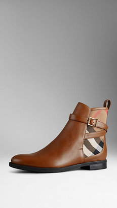 Burberry House Check Leather Ankle Boots