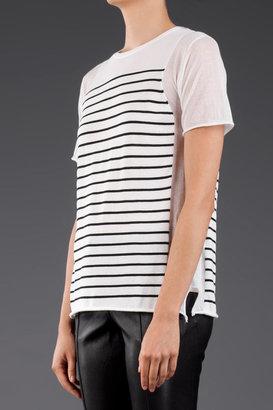 Alexander Wang Panel Stripe Knit Short Sleeve Top