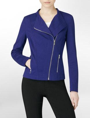 Calvin Klein Purple Asymmetrical Zip Close Ponte Knit Jacket