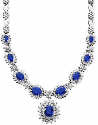 Effy Royalty Inspired by Sapphire (4-3/8 ct. t.w.) and Diamond (1-2/3 ct. t.w.) Necklace in 14k White Gold