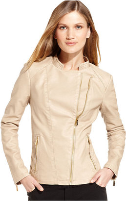 Calvin Klein Jacket, Long-Sleeve Faux-Leather Moto
