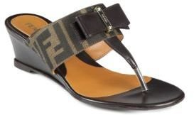 Fendi Logo-Detail Canvas & Leather Bow Wedge Sandals