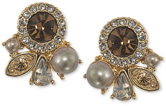 Carolee Earrings, Gold-Tone Crystal Cluster Button Earrings - Breast Cancer Research Foundation