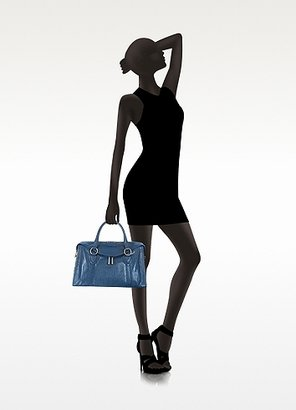 Marc Jacobs Small Fulton Denim Blue Leather Satchel Bag w/Shoulder Strap