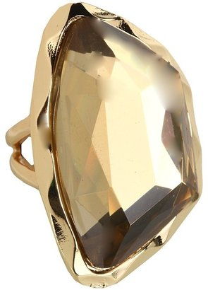 GUESS Large Faceted Stone Ring (Gold/Light Colorado) - Jewelry