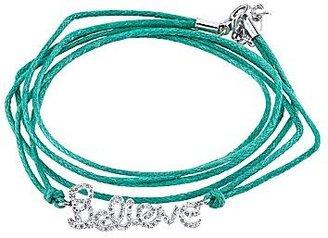 JCPenney Pure Silver-Plated Cubic Zirconia Believe Aqua Wrap Bracelet