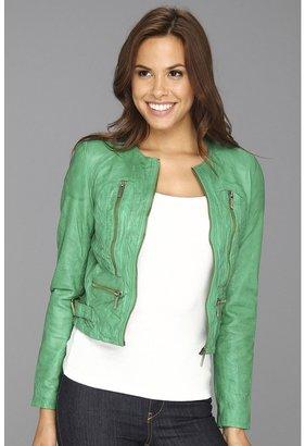 MICHAEL Michael Kors Soft Leather Zip Jacket (Goosberry) - Apparel